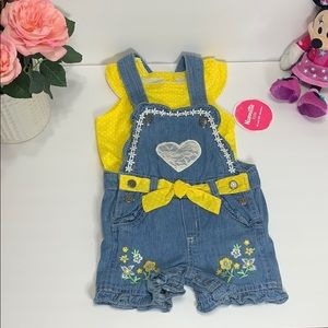 Beautiful 2PC set yellow/denim short overalls 👧🏻